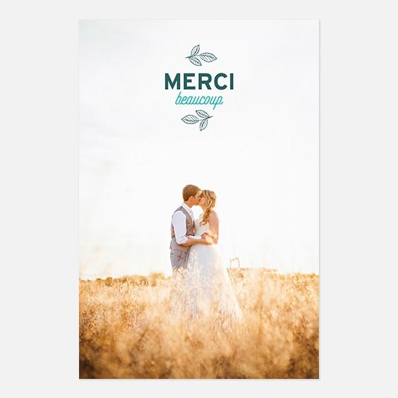 Remerciements de mariage fleur, papeterie Dame-Jeanne recto
