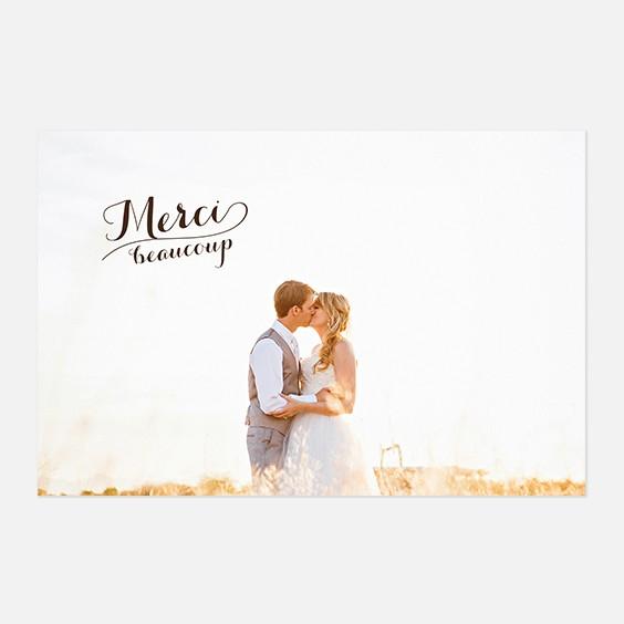 Remerciements de mariage kraft, papeterie Rétro kraft recto