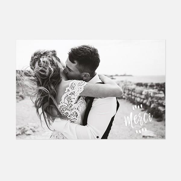 remerciements mariage graphique, voyage, papeterie Bleu Cyclades recto