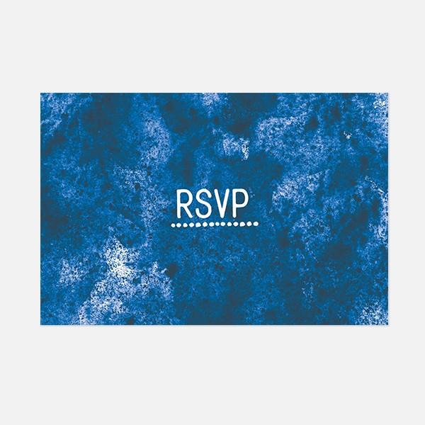 rsvp de mariage graphique, voyage, papeterie Bleu Cyclades recto