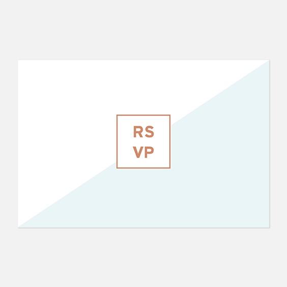 RSVP de mariage géometrique, papeterie Papier marbre recto