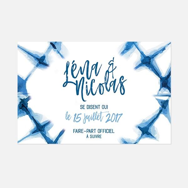 save the date de mariage graphique, voyage, papeterie Bleu Cyclades verso