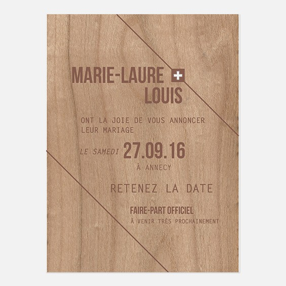 Save the date de mariage bois, champêtre, papeterie Folk & wood en bois recto
