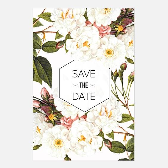 Save the date de mariage fleur, papeterie Jardin botanique recto