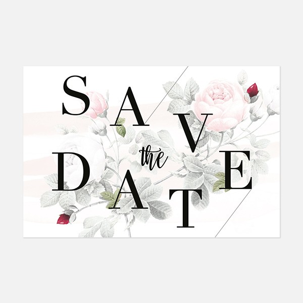 save the date de mariage graphique, moderne, Fleur, Aquarelle recto