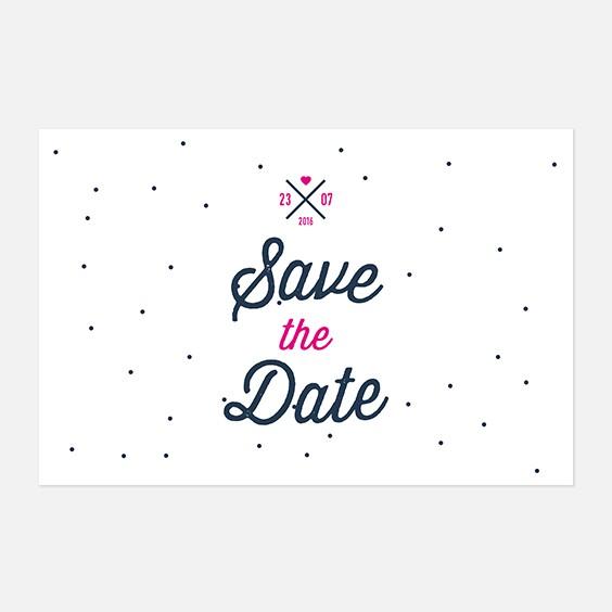 Save the date de mariage graphique, moderne, papeterie Des petits pois recto