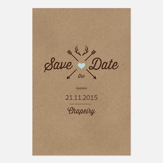 Save the date de mariage kraft, hiver, papeterie Douceur scandinave recto