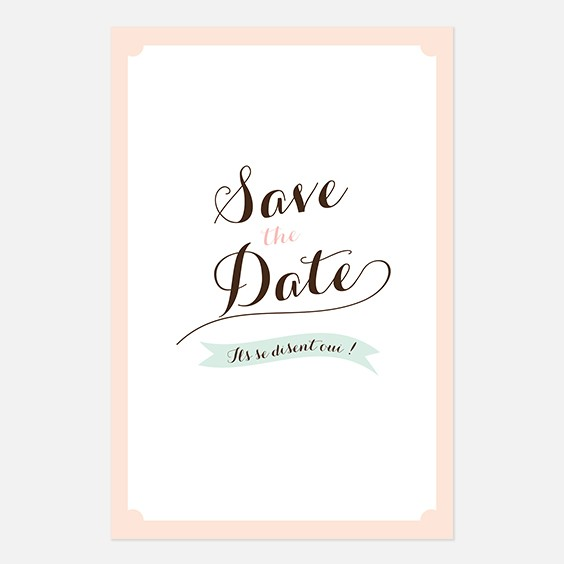 Save the date de mariage kraft, vintage, papeterie Rétro kraft recto
