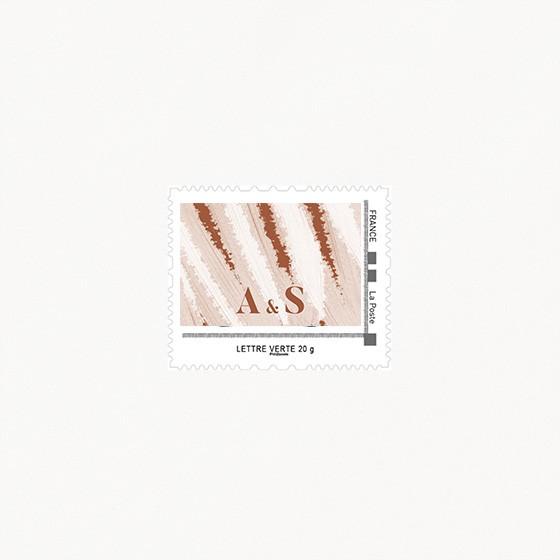 visuel timbre de mariage, terracotta, blush, moderne, minimaliste recto