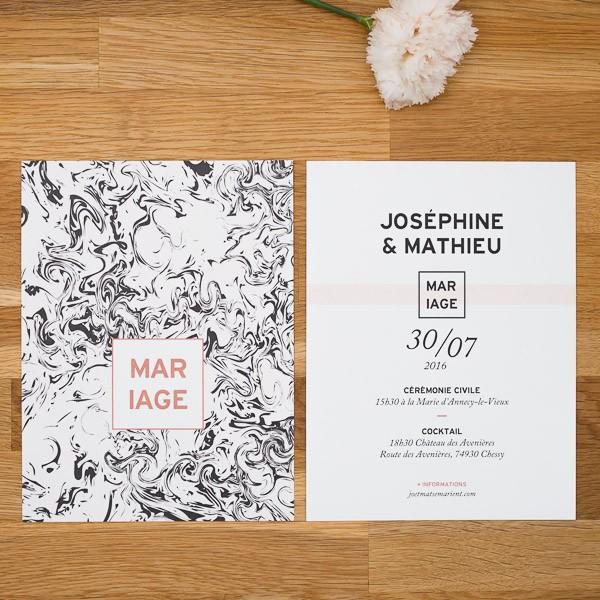 faire part de mariage g ometrique cuivre papier marbre. Black Bedroom Furniture Sets. Home Design Ideas