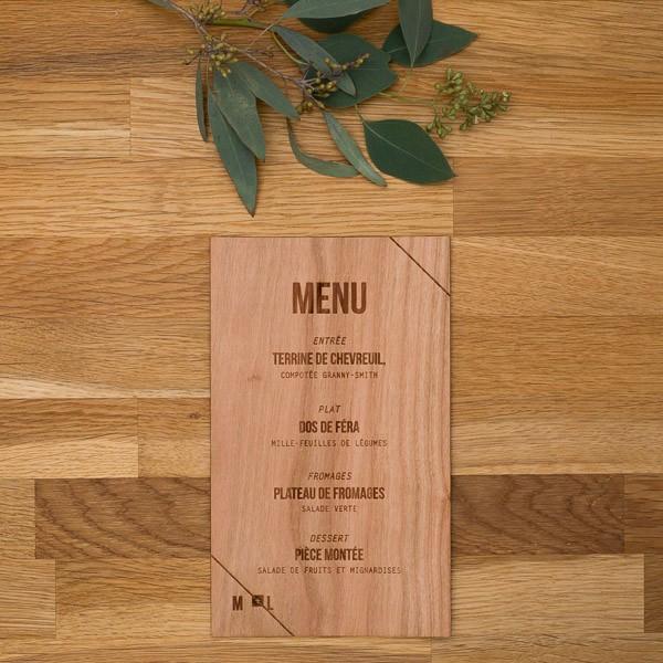 menu de mariage bois champ tre folk wood en bois. Black Bedroom Furniture Sets. Home Design Ideas