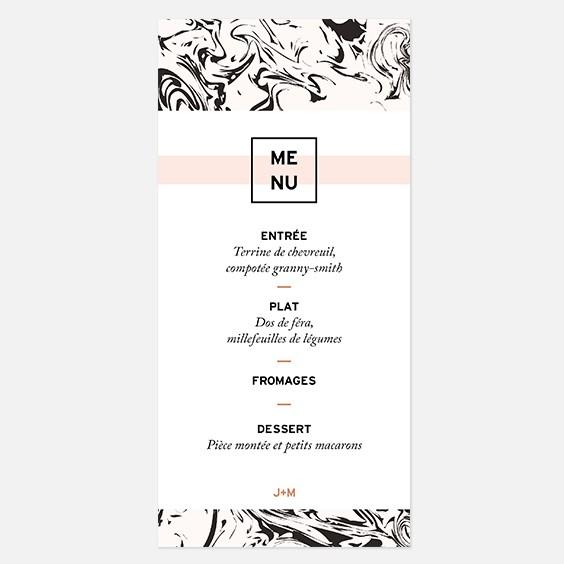menu de mariage g ometrique cuivre papier marbre. Black Bedroom Furniture Sets. Home Design Ideas