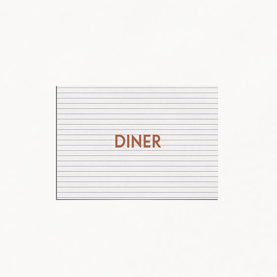Carton diner  cuivre, chic, papeterie Copper