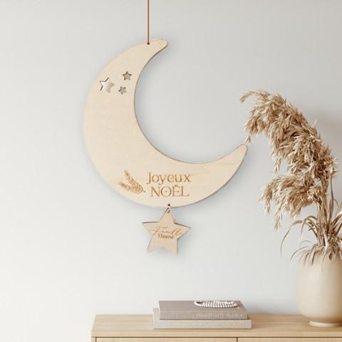 decoration murale lune noel bois personnalisée etoile