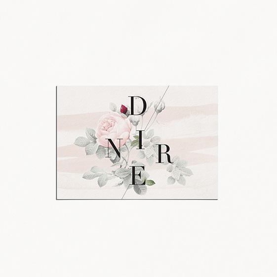carton diner de mariage graphique, moderne, Fleur, Aquarelle