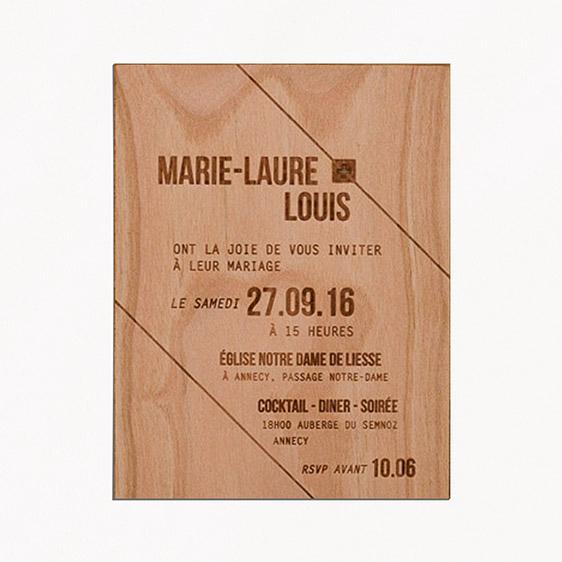 Faire-part de mariage bois, champêtre, papeterie Folk & wood