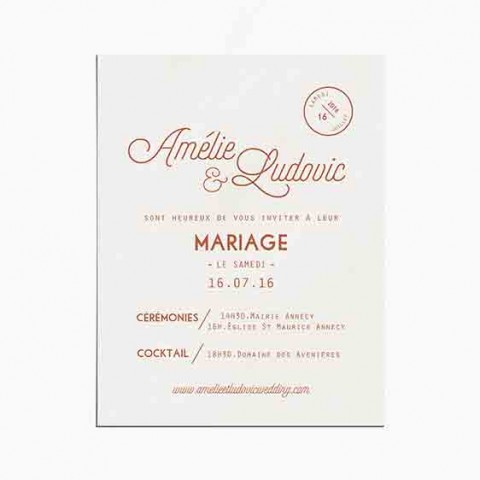 Faire-part de mariage cuivre, chic, papeterie Copper