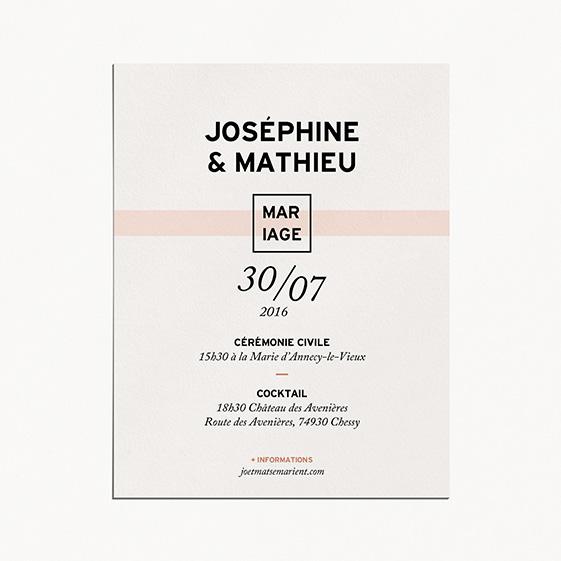 Faire part de mariage géometrique, cuivre, papeterie Papier marbre