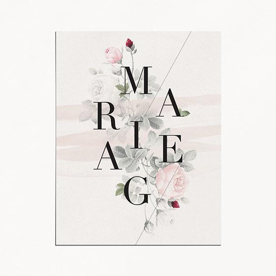 Faire-part de mariage graphique, moderne, Fleur, Aquarelle