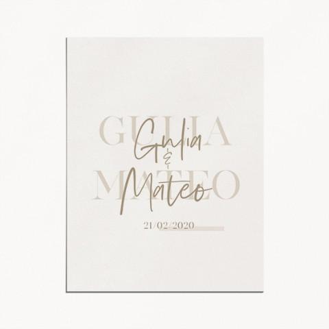 faire-part de mariage gulia jeux typographique et tons naturels recto