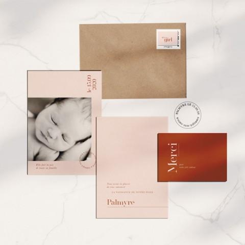 faire-part naissance fille terracotta graphique minimaliste