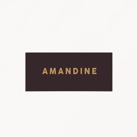 Marque-place de mariage celestine monogramme main mariés avec prénoms style minimaliste verso