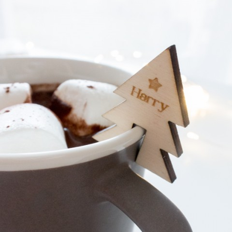 marque-place mug sapin bois personnalise decoration noel