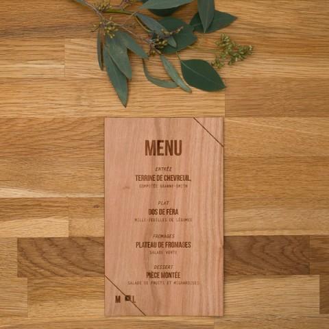 Menu de mariage bois, champêtre, papeterie Folk & wood en bois
