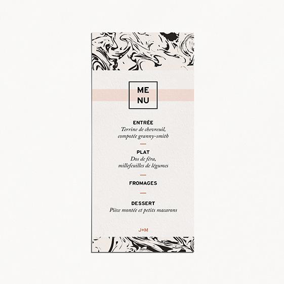 Menu de mariage géometrique, cuivre, papeterie Papier marbre