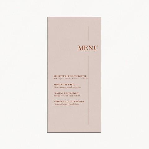 menu de mariage, terracotta, blush, moderne, minimaliste recto
