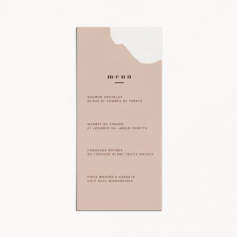 menu de mariage, matisse, illustration visage mariés moderne, minimaliste verso
