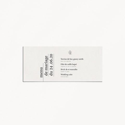 menu de mariage minimaliste mariage minimalist moderne épuré