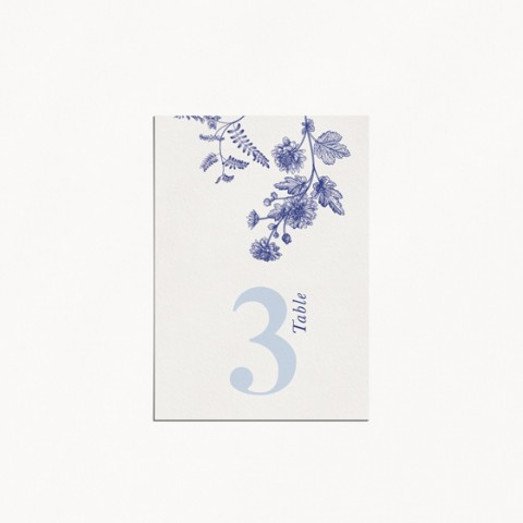 numero de table de mariage moderne occitanie fleur vintage toile de jouy verso