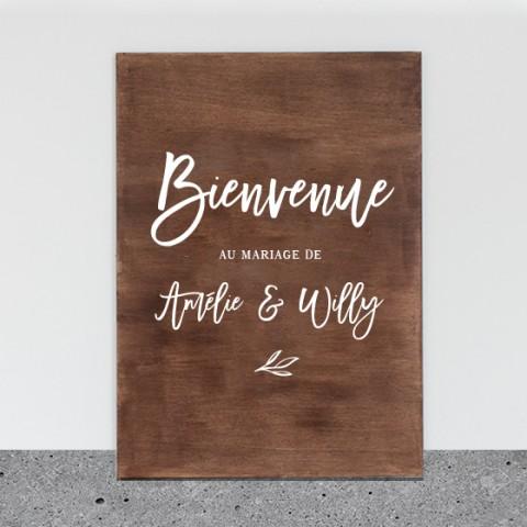 panneau accueil bienvenue à personnaliser mariage rustic