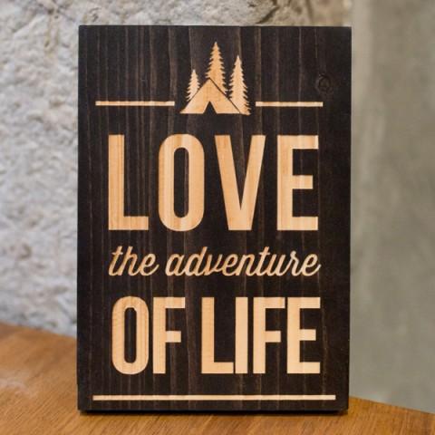 Panneau bois gravé laser, decoration, love,adventure