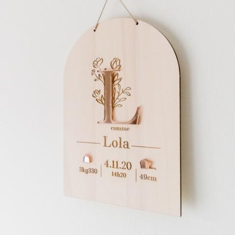 pancarte naissance personnalisé lettre fleur