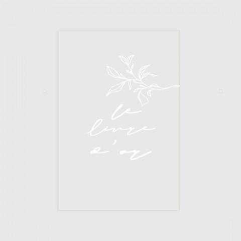 Panneau  signalétique en plexi transparent pour le livre d'or mariage natura à poser