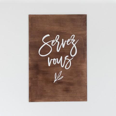 Panneau signalétique en bois pour cadeaux d'invités mariage rustic à poser