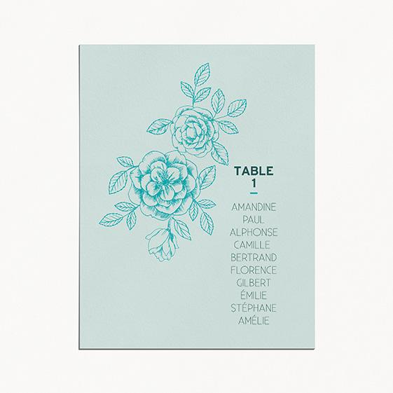 Plan de table de mariage fleur, papeterie Dame-Jeanne