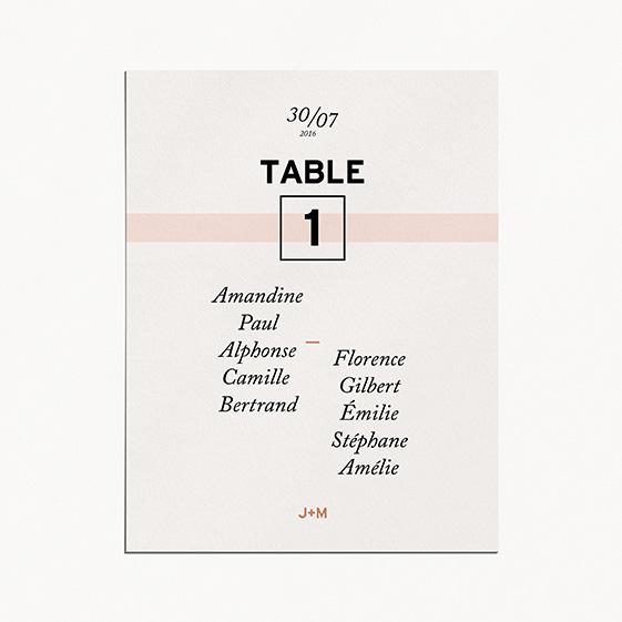 Plan de table de mariage géometrique, cuivre, papeterie Papier marbre