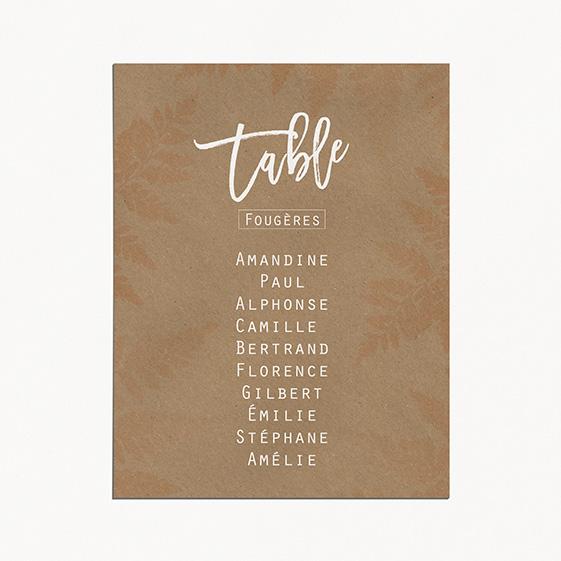 Plan de table de mariage végétal, naturel, papeterie Organic