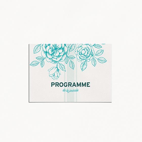 Programme de mariage fleur, papeterie Dame-Jeanne
