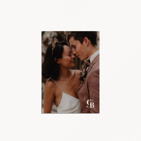 faire-part de mariage moderne occitanie fleur vintage toile de jouy recto