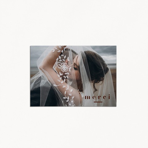 carte de remerciements de mariage, matisse, illustration visage mariés moderne, minimaliste recto