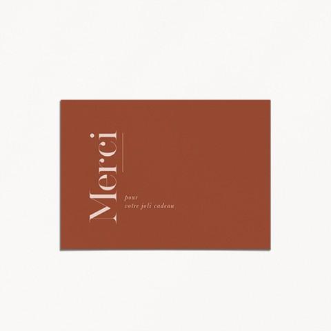 carte remerciements naissance terracotta graphique minimaliste