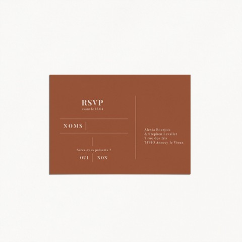 save the date de mariage, terracotta, blush, moderne, minimaliste verso