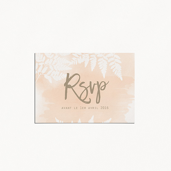 RSVP de mariage végétal, naturel, papeterie Organic