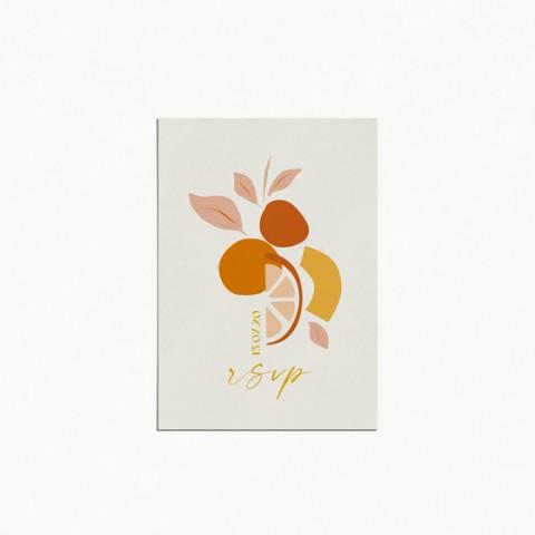 carton réponse rsvp mariage tutti frutti composition moderne fruits