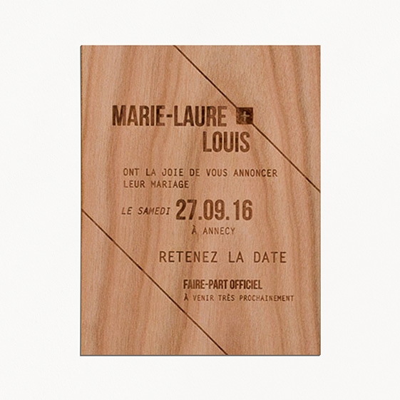 Save the date de mariage bois, champêtre, papeterie Folk & wood en bois
