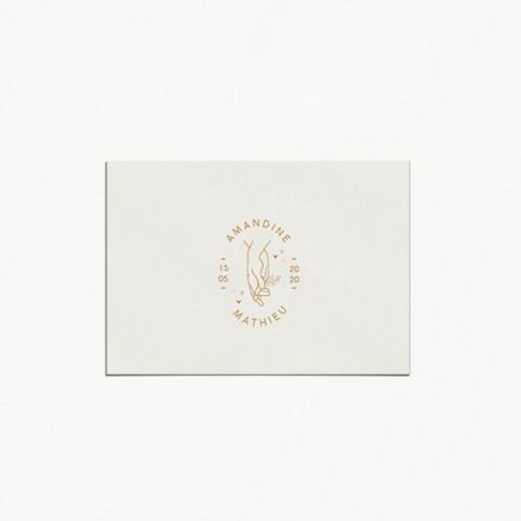 save the date mariage celestine monogramme main mariés avec prénoms style minimaliste verso